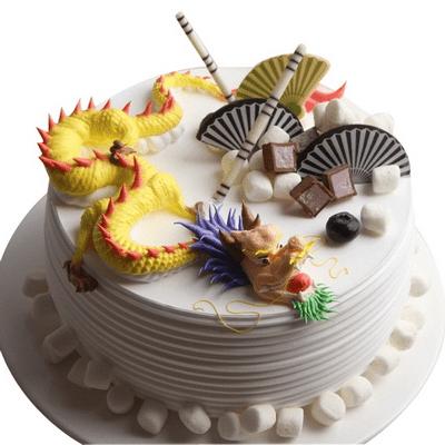 生日蛋糕十二生肖龙_延安生肖龙造型水果蛋糕|延安蝶恋鲜花店